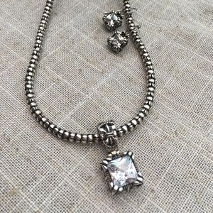 Uptown CZ Pendant, Earrings and Popcorn Necklace
